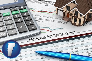 a mortgage application form with Vermont map icon