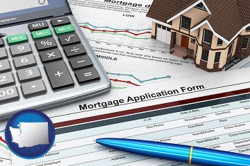a mortgage application form with Washington map icon