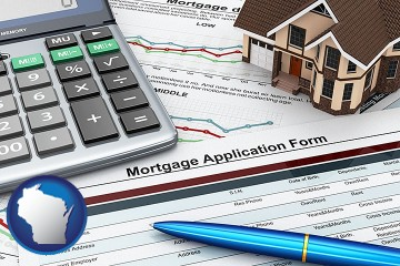 a mortgage application form with Wisconsin map icon