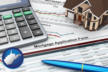 a mortgage application form with West Virginia map icon