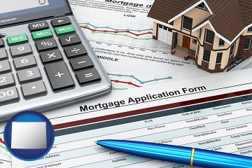 mortgage application form with Wyoming map icon