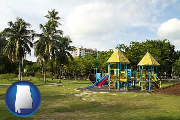 a tropical park playground with Alabama map icon