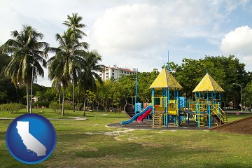 a tropical park playground with California map icon