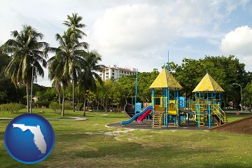 a tropical park playground with Florida map icon