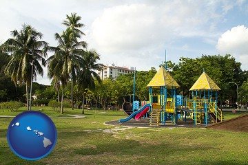 a tropical park playground with Hawaii map icon