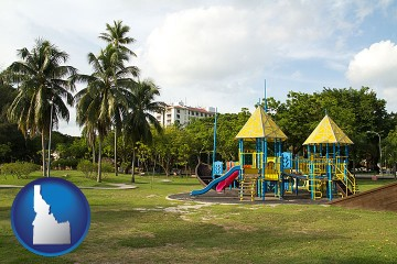 a tropical park playground with Idaho map icon