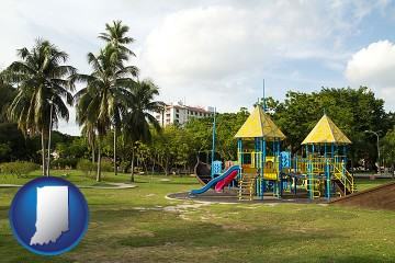 a tropical park playground with Indiana map icon