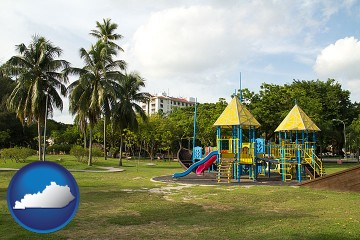 tropical park playground with Kentucky map icon