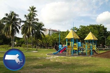 a tropical park playground with Massachusetts map icon