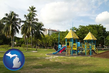 a tropical park playground with Michigan map icon