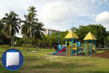 a tropical park playground with New Mexico map icon