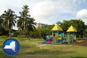 a tropical park playground with New York map icon