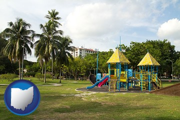 a tropical park playground with Ohio map icon