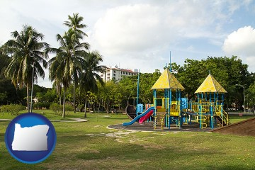 a tropical park playground with Oregon map icon