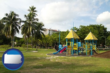 a tropical park playground with Pennsylvania map icon