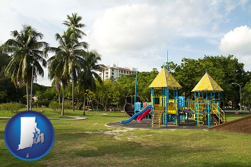 a tropical park playground with Rhode Island map icon