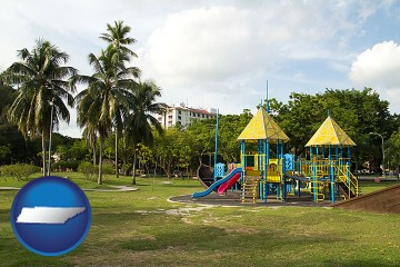 a tropical park playground with Tennessee map icon