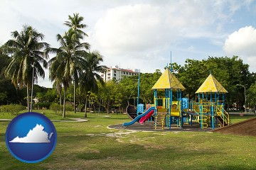 a tropical park playground with Virginia map icon