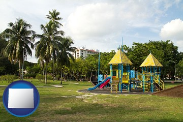 a tropical park playground with Wyoming map icon