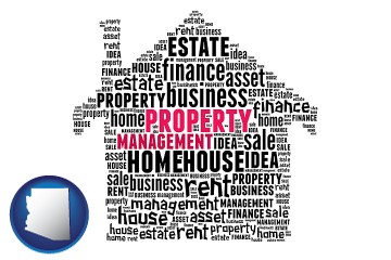 property management concepts with Arizona map icon