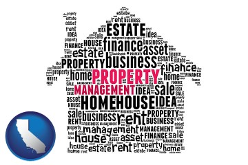 property management concepts with California map icon