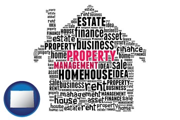property management concepts with Colorado map icon