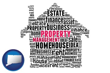 property management concepts with Connecticut map icon