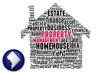 property management concepts with Washington, DC map icon