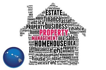 property management concepts with Hawaii map icon