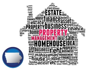 property management concepts with Iowa map icon
