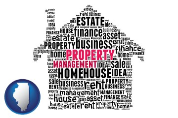 property management concepts with Illinois map icon