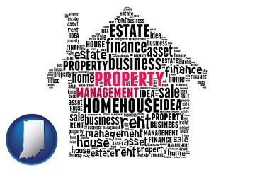 property management concepts with Indiana map icon