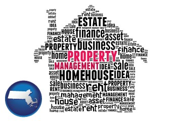 property management concepts with Massachusetts map icon