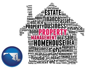 property management concepts with Maryland map icon