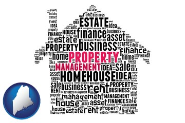property management concepts with Maine map icon