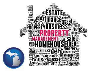 property management concepts with Michigan map icon