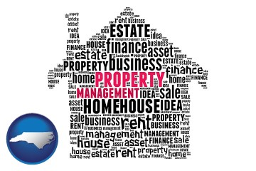 property management concepts with North Carolina map icon