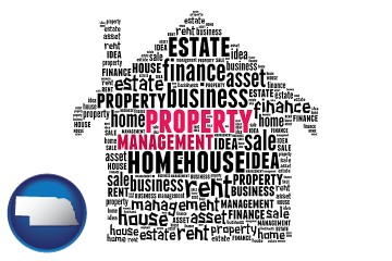 property management concepts with Nebraska map icon