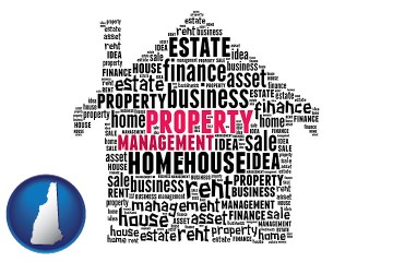property management concepts with New Hampshire map icon