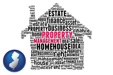 property management concepts with New Jersey map icon