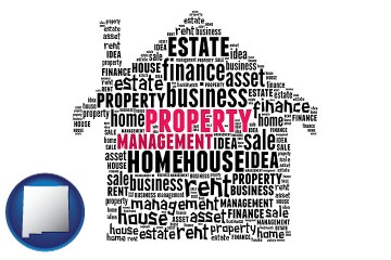 property management concepts with New Mexico map icon