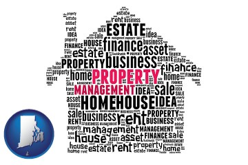 property management concepts with Rhode Island map icon