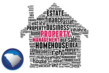 property management concepts with South Carolina map icon