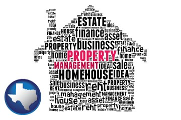 property management concepts with Texas map icon