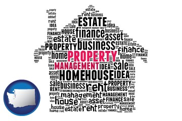 property management concepts with Washington map icon
