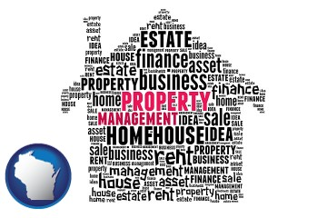 property management concepts with Wisconsin map icon