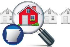 Arkansas - a house viewed through a magnifying glass