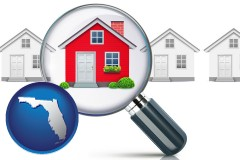 Florida - a house viewed through a magnifying glass