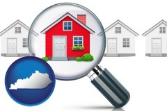 Kentucky - a house viewed through a magnifying glass