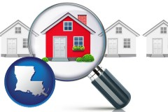 Louisiana - a house viewed through a magnifying glass
